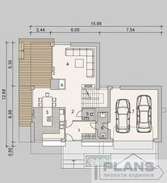 Котедж з терасою та лоджіями   Plans   Projects of houses Modern Architecture, Habitats, Floor Plans, How To Plan, Building, Projects, Buildings, Modernism, Contemporary Architecture