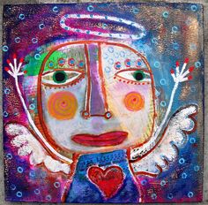 """""""Lift Up Your Heart""""....original acrylic collage Angel on wood...created by me, Tracey Ann Finley...."""