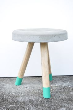 Industrial Modern Concrete stool. Wood legs. by triple7recycled