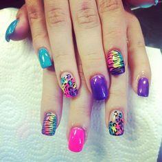 Neon Animal Print Skittles by Pimp My Nails
