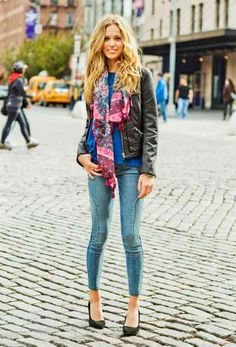 Moto Rule look from American Eagle Outfitters. Floral scarf.