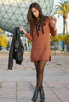 39 Winter Sweater and Dress Outfit Winter Dress Outfits, Fancy Dress Outfits, Casual Winter Outfits, Unique Outfits, Casual Fall, Women's Casual, Autumn Fashion Casual, Fall Fashion Outfits, Fashion Black