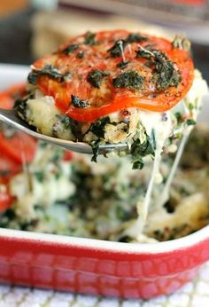 Caprese Quinoa Casserole - loaded with turkey, mozzarella, tomatoes, and basil.
