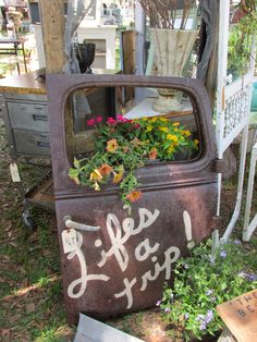 One Shabby Old House: Fancy Flea Spring 2014 Outdoor Projects, Garden Projects, Outdoor Decor, Old House Decorating, Decorating Ideas, Car Parts Decor, Car Part Furniture, Furniture Design, Bench Furniture