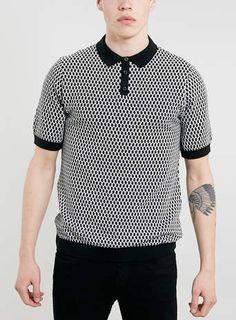 Monochrome Geo Pattern Knitted Polo Shirt