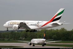 Emirates Airlines (AE) Airbus A380-861 A6-EDZ aircraft, with the sticker ''ICC Cricket World Cup 2015'' & ''EXPO 2020 DUBAI UAE'' on the airframe, landing at Germany Munich International Airport. 05/05/2015. (ICC Cricket World Cup 2015 hosted by Australia & New Zealand from 14/02 - 29/03/2015).
