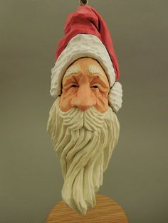 Hand Carved Wood Santa Ornament by CarvingsbyTony on Etsy, $55.00