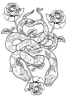 Snakes & roses - Snakes Coloring Pages for Adults - Just Color Snake Coloring Pages, Coloring Pages Nature, Stress Coloring Book, Moon Coloring Pages, Tattoo Coloring Book, Detailed Coloring Pages, Printable Adult Coloring Pages, Mandala Coloring Pages, Coloring Books