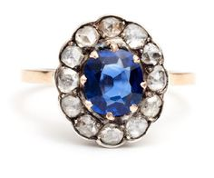 Victorian Classic Sapphire and Diamond ring by antiqueringlady, $2250.00