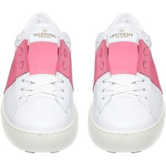 Valentino Pink Open Leather Trainers (€525) ❤ liked on Polyvore featuring shoes, sneakers, flats, studded lace-up wedge sneakers, tennis trainer, pink shoes, valentino sneakers and studded sneakers