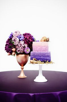 Purple Ombre butter cream ruffle cake - Sugar Bee Sweets