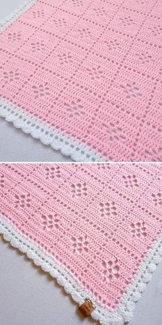 """Pink and white is such a timeless classic, that you can never go wrong with this combination. May's version of this design is delicate and cute, just perfect for a newborn baby. If you know original Midwife Blanket pattern, you can see that Valeria Blanket features a little bit more complex """"flower"""" in the center of each square. Take a peek below and get inspired! #crochetpattern #filetcrochet"""