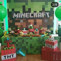 Diy Minecraft Birthday Party, 9th Birthday Parties, Minecraft Cake, 7th Birthday, Minecraft Classroom, Video Game Decor, Dessert Table Birthday, Grinch Party, Personalized Cookies