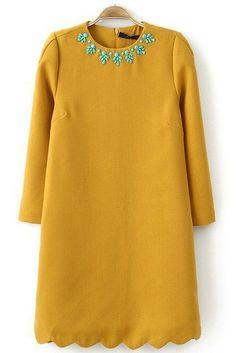 Yellow Long Sleeve Bead Zigzag Dress US$34.43 - in love!!!!!!!!!