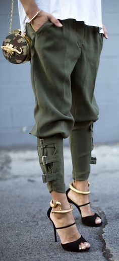 buckles, baggy pants, pants, military style, jeans, green