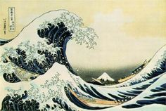 I always love these japanese prints- Hokusai was one of the greatest ukiyo-e painters, known especially for the Thirty-six Views of Mount Fuji series. One of the best known ukiyo-e paintings, The Great Wave off Kanagawa, is part of this series. Japanese Wave Painting, Japanese Waves, Japanese Prints, Japanese Style, Japanese Artwork, Vintage Japanese, Japanese Poster, Traditional Japanese Art, Japanese Drawings