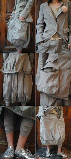 MLLE SERENA : Veste multi-poches, jupe vert-de-gris, legging, chaussures RUNDHOLZ, chemisier court fleuri EWA