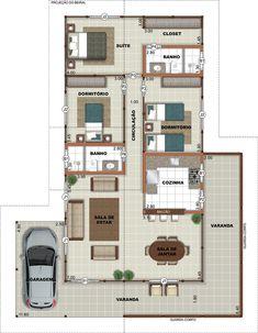 Casa de Madeira - 1 pavimento - 3 quartos - 138,39 M²   Brasil Casas Simple Floor Plans, Modern House Floor Plans, Home Design Floor Plans, Bungalow House Plans, Dream House Plans, Small House Plans, 4 Bedroom House Designs, Bedroom House Plans, Sims 4 House Design