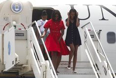 First Lady Michelle Obama's Marco Polo Airport Michael Kors Collection Transeason 2015 Crimson Cotton Poplin Dress