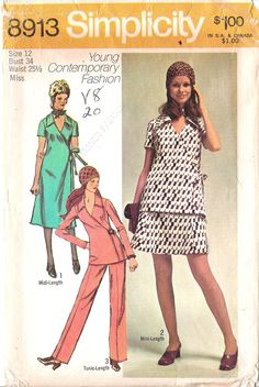 09295f07a0ed2f CLOSE OUT  Simplicity 8913 1970s Summer Wrap Dress Skirt Pants Vintage  Sewing Pattern Bust 34