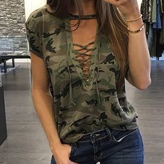Fashion T-shirts Sexy Women's Clothing Summer Short Sleeve T-shirt Loose Clothes Casual V-Neck T-Shirt Camouflage Female Tops Womens Fashion Casual Summer, Summer Outfits Women, Women's Summer Fashion, Fashion Women, Style Fashion, Fashion Trends, Camouflage T Shirts, Camo Shirts, Camo Tie