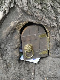 """Little Guy Elf Door -- there's a tree at lake harriet in minneapolis with a hollowed out base where a friendly elf lives and answers letters using only lower-case letters because """"capitals are too big"""". his name is thom, and if you leave him a letter, he promises to write you back."""