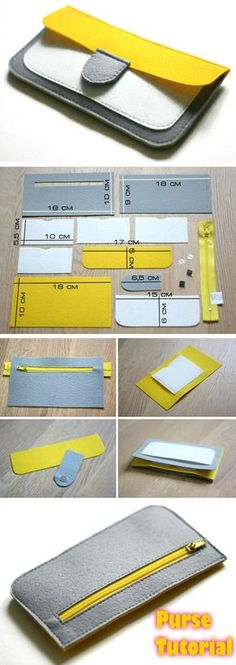 Tendance Sac 2018 : Description Felt Coin Purse Wallet Tutorial www.free-t… Tendance Sac 2018 : Description Felt Coin Purse Wallet Tutorial www. Felt Wallet, Felt Purse, Coin Purse Wallet, Card Wallet, Diy Wallet Bag, Clutch Purse, Sewing Patterns Free, Sewing Tutorials, Sewing Projects