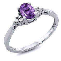 Gem Stone King 14K White Gold Purple Amethyst and Diamond Women's Ring 0.41 cttw, Available in size (5,6,7,8,9)