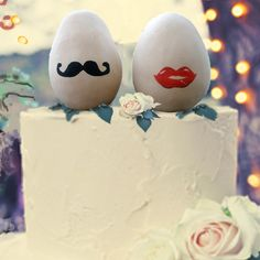 Fairy Eggs (unscented) - Wedding Cake Topper - Home Decor - Mustache & Lips - Pottery Potpourri - Aromatherapy - natural - real clay. $28,95, via Etsy.