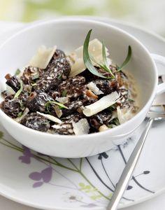 Morilles à l'estragon, crème de parmesan*
