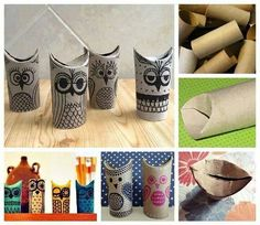 Owls from toilet rolls