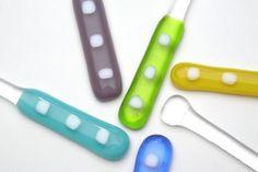 fused glass swizzle sticks!