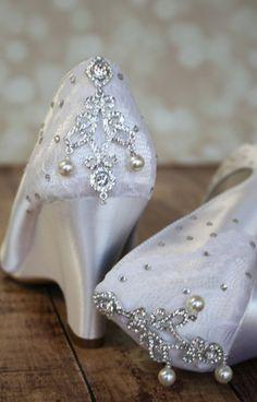 Wedding Shoes Light Ivory Peep Toe by EllieWrenWeddingShoe