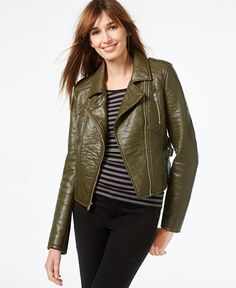 RACHEL Rachel Roy Faux-Leather Cropped Moto Jacket - Women - Macy's