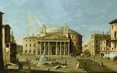 """View of the Pantheon in Rome, c. 1760, attributed to the Master of the Langmatt Foundation Views. Note that the Pantheon depicted here has two bell towers. These had been added by the great sculptor and architect Bernini, but were openly derided as """"Bernini's Asses' Ears."""" Ultimately, the bell towers were torn down."""