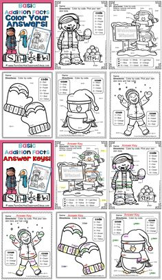 **50% Off for the First Two Days!** Winter Fun! Basic Addition Facts - Color Your Answers Printables #TPT $Paid