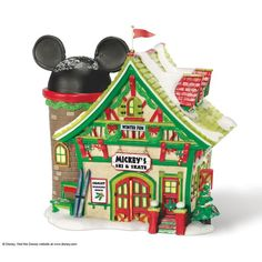 Mickey's Village Comes Alive with the joy of Christmas that fills the air. Each lighted piece comes with a switched light cord and bulb and was designed by the