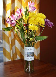 Handcut Wine Bottle Vase by MegLinkDesign on Etsy