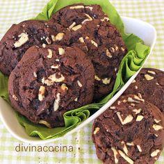 Estas cookies de chocolate y nueces se preparan con chocolate negro en tableta y su sabor a chocolate es intenso.