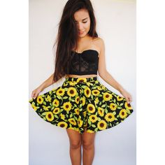 Sunflower Skirt (67 CAD) ❤ liked on Polyvore featuring skirts, outfits, pictures, dresses, grey, women's clothing, print skirt, sunflower skirt, patterned skirt and grey skirt