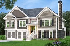 Three Bed Split Level with Great Curb Appeal - 75604GB | 1st Floor Master Suite, Butler Walk-in Pantry, CAD Available, PDF, Split Level, Traditional | Architectural Designs