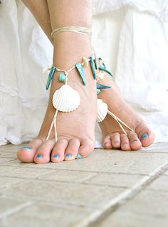 Barefoot sandals with real seashell and mother of pearl door MarryG, $19.00