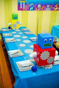 Robot themed birthday decor ( make the cardboard robot for baby boy room)