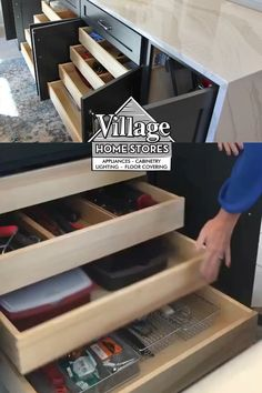 Looking to to maximum storage in a kitchen base cabinet? Ask a kitchen designer at Village Home Stores to include 2-4 slide out shelves in a full-height base cabinet.    |   villagehomestores.com Slide Out Shelves, Kitchen Base Cabinets, Kitchen Storage Solutions, Kitchen Installation, Shades Blinds, At Home Store, Countertops, Choices, Kitchen Design
