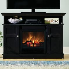 Electric Fireplace Heater Gray Media Cabinet 70″ TV Stand