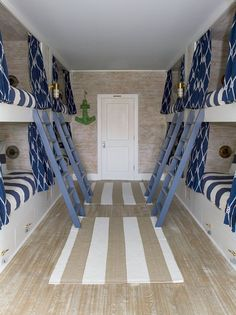 Bunk Room features custom faux finish on walls and custom painted faux finish…