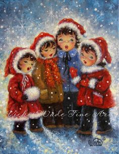 Four Christmas Carolers Art Print four sisters paintings children singing four girls singing, red capes, Vickie Wade Christmas art