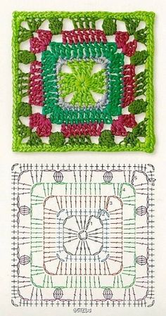 Pretty crochet square with diagram.
