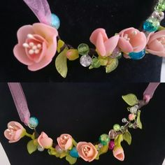 """My hand product made of polymer clay, necklace """"Sakura"""""""