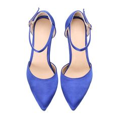 SheIn(sheinside) Blue Ankle Strap High Heel Pumps ($29) ❤ liked on Polyvore featuring shoes, pumps, pointed toe ankle strap pumps, blue stilettos, stiletto pumps, pointed toe high heel pumps and high heel shoes